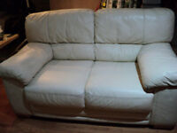 Elegant and Comfortable Cream Leather Sofa 2 and 3 seaters