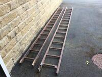 2 Heavy Duty Push-up Wooden Ladders