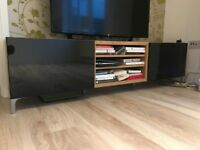 IKEA. TV Bench. Stand. Unit. High Gloss Black And Wood Mint Condition
