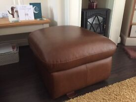 Leather foot stool with storage