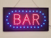 LED Flashing BAR sign for pub club mancave door hanging window beer wine