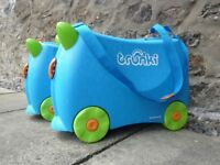Pair of kids Terrance Trunki cases Blue, Green & Orange for sale - Great working condition.