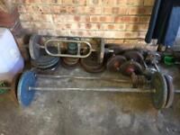 Set of Weights, steel with bar and dumbbells