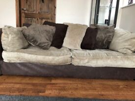 Large Two Seater Brown Leather Sofa and Fabric