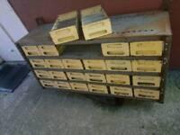 vintage industrial storage rack with 24 enamelled steel sections