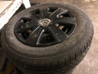 new 14inch tyres with USED black VW wheel trims (sprayed)