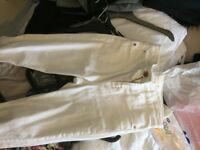 River island white cropped jeans