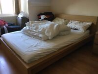 Full Bedroom IKEA MALM: Double Bed + Hamarvik Matress + 2 bedside + 1 cheast of drawers (4 drawers)