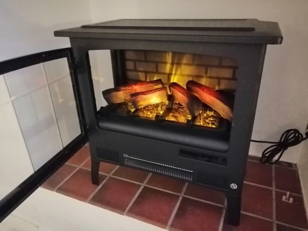 Large Electric Stove Fire Log Burner Effect With Remote Control Flame Rrp 350