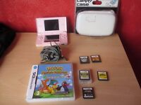 Pink Nintendo DS Bundle with games Pokemon, Advance Wars etc