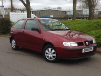 2001 SEAT IBIZA 1 LITRE **VERY LOW MILES ONLY 60000**CHEAP RUNNING COSTS**