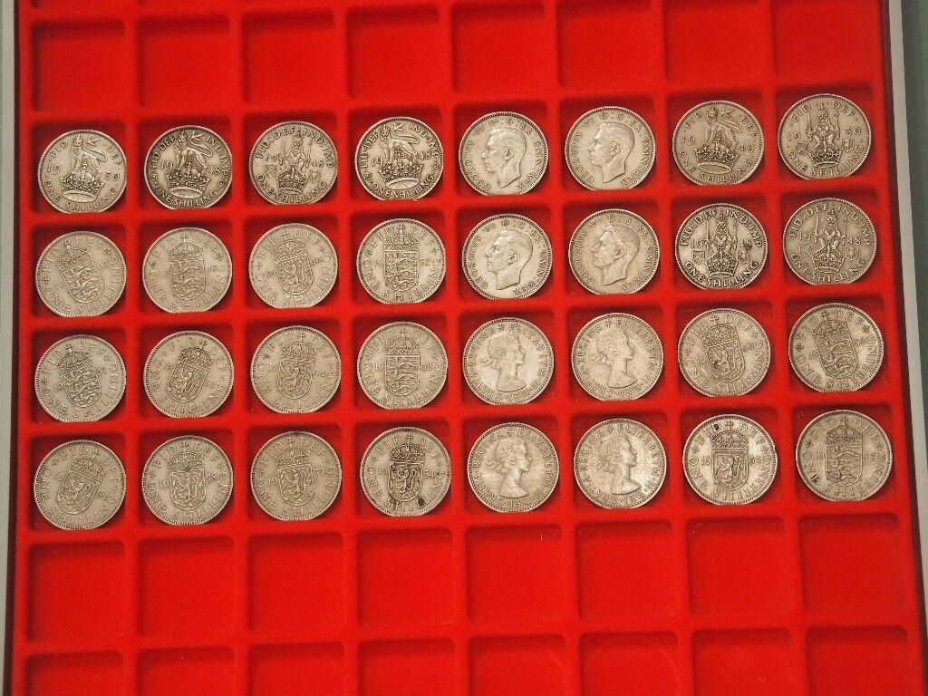 Large collection of Shilling coins x 32 from 1947 -1966