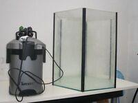 Hexagonal fish aquariumTetratec treatement unit and accessories