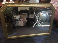 Attractive Vintage Gilt Framed Decorative Over-mantle Wall Mirror