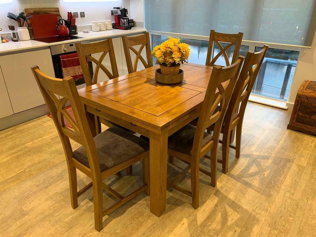 Rustic Oak Extending Dining Table + 6 Chairs | in London ...