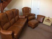 Beautiful leather three piece suite