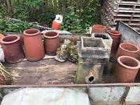Various clay chimney pots
