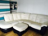 !!REDUCED!! White leather corner sofa/ couch from dfs with storage footstool