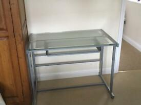 Tempered glass grey metal desk with pull out keyboard shelf Width 100cm Depth 60cm
