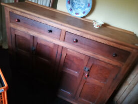 OLD stripped PINE, two drawer dresser type CUPBOARD. cms:166w x 50d x122h-