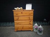 SOLID PINE FARMHOUSE CHEST OF DRAWERS WITH 4 DRAWERS VERY SOLID AND STURDY
