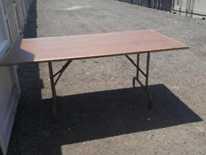 "Oakville LARGE 72X36"" BANQUET TABLE Seats 8 to 12 people SOLID WOOD TOP Folding Legs Dining Huge Outside Inside Eating"