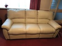 Harvey's Cream leather 2 and 3 seater lazy boy recliner sofas