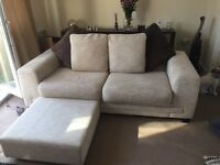 Cream DFS 3 seater sof and poufe