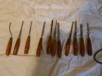 a large selection of wood carving chisels