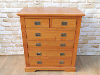 Pine chest of drawers with metal handles (Delivery poss)