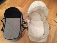 For sale, Beautiful Clair de Lune Moses Basket with Travel Cot Combo and 7 sets of fitted sheets