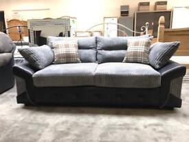 Logan 3 + 2 black and grey sofa NEW