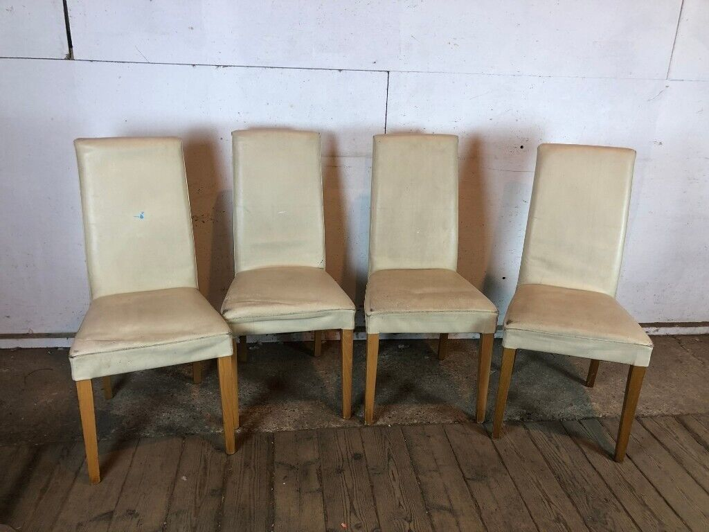 Set of 4 Cream Faux Leather High Back Dining Chairs | in ...