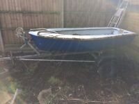 Small boat trailer and outboard fishing