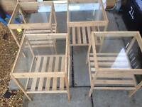 Two sets of bed side tables