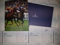 Ascot Racecourse Gift Voucher Set. Value: £83, Selling for £70.
