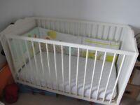 Ikea HENSVIK cot bed + Mattress + Vert Baudet Cot bumper