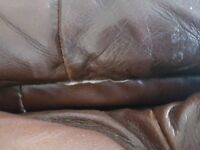 2x Brown Leather Reclining Sofas