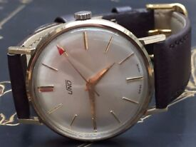 Beautiful vintage 9k 9ct solid gold Uno mens swiss watch REDUCED