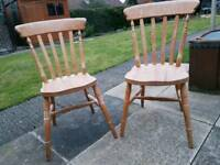 Two antique pine vintage/farmhouse dining kitchen chairs