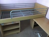 Metal framed Cabin Bed with drawer and desk units