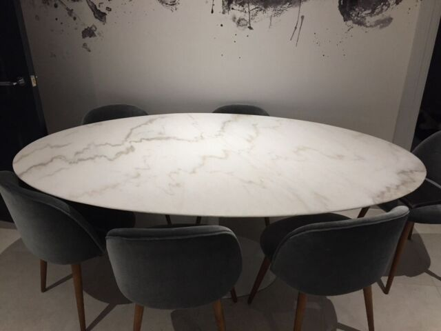 more photos 214ed 8f1d9 Oval marble dining table tulip style | in Llandaff, Cardiff | Gumtree