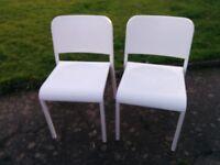 Pair white IKEA chairs