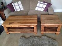 2 solid Wooden tables, buy as pair or split