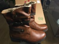 UK Size 7 - NEW Relife Fur-Lined Calf-High Tan Brown Leather Boots - Bought for £80