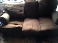 LARGE FABRIC THREE SEATER DOUBLE SOFA BED IN GOOD USED CONDITION FREE LOCAL DELIVERY 07486933766