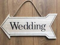 Wedding Arrow Sign hanging wooden