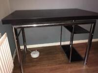 Computer Desk, Chrome and Dark Wood