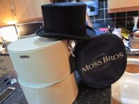 moss bros size 7 black top hat & carry bag