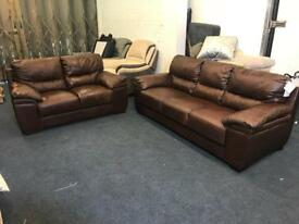 REAL LEATHER BROWN 3 and 2 SEATER SOFA SET CHEAP BARGAIN THREE PLUS TWO FREE DELIVERY